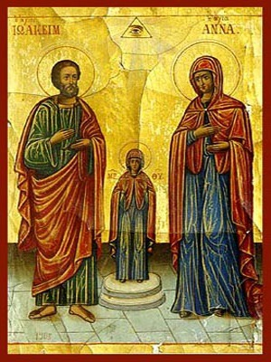SAINTS JOACHIM AND ANNE, THE RIGHTEOUS ANCESTORS OF GOD, WITH VIRGIN, FULL BODY