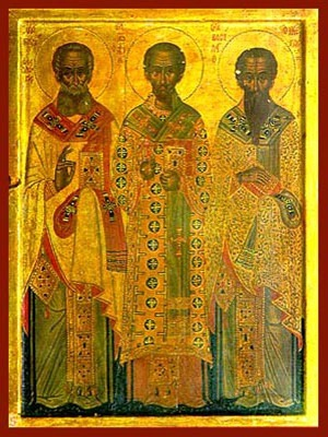 THREE HOLY HIERARCHS, SAINTS BASIL THE GREAT, GREGORY THE THEOLOGIAN, JOHN THE CHRYSOSTOM, FULL BODY