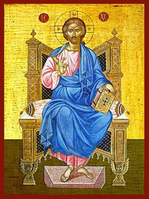 CHRIST BLESSING, ENTHRONED