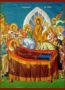 DORMITION OF THEOTOKOS, DETAIL - Icon Print on Paper, 4x5cm / 1,6x2in