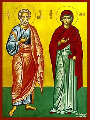 SAINTS JOACHIM AND ANNE, RIGHTEOUS ANCESTORS OF GOD, FULL BODY - Icon Print on Paper, 6×9cm / 2,4×3,6in