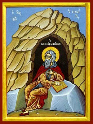SAINT JOHN (CLIMACUS) OF SINAI, AUTHOR OF THE LADDER, IN CAVE, FULL BODY