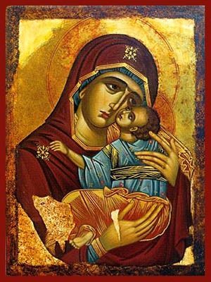 VIRGIN AND CHILD, SWEET KISSING, CHIONON OF NAXOS, GREECE (COPY OF PROTOTYPE)