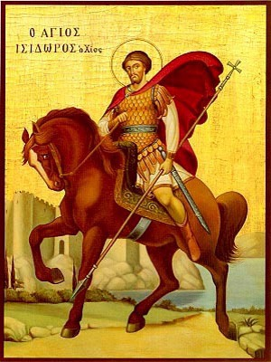 SAINT ISIDORE, MARTYR,OF CHIOS, GREECE, ON HORSEBACK
