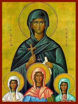 SAINTS SOPHIA AND DAUGHTERS, FAITH, HOPE AND LOVE, FULL BODY