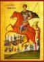SAINT DEMETRIUS THE MYRRH-GUSHER, ON HORSEBACK - Icon Print on Paper, 30x40cm / 11,8x15,7in