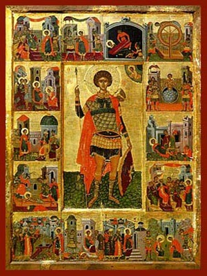 SAINT GEORGE THE GREAT MARTYR, WITH SCENES FROM HIS LIFE, FULL BODY