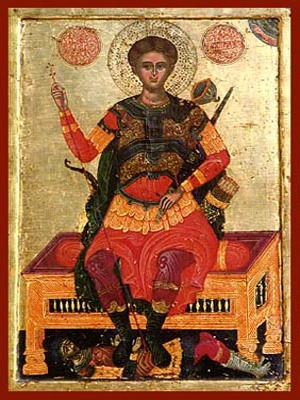 SAINT DEMETRIUS THE MYRRH-GUSHER, ENTHRONED