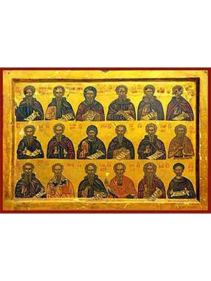 HOLY HERMITS, SAINTS THEODOSIUS THE CENOBIARCH, EUTHYMIUS, ANTONY, SABBAS, ARSENIUS, MAXIMUS, CHARITON, ATHANASIUS OF ATHOS, EPHRAIM THE SYRIAN, NILE, ILARION, PAUL OF THEBES HERMIT OF EGYPT, SAINTS JOHN (CLIMACUS), PAUL ARCHBISHOP OF CONSTANTINOPLE, IOANNIKIOS, THEODORE STOUDITES, DAVID OF SALONIKA AND ACACIUS.