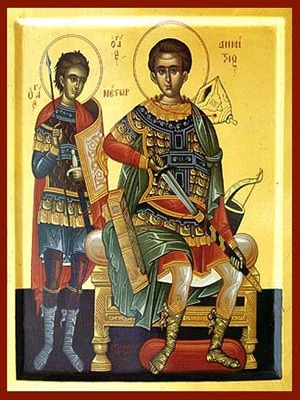 SAINTS DEMETRIUS THE MYRRH-GUSHER ENTHRONED AND NESTOR