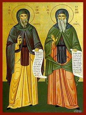 SΤS. SYMEON THE NEW THEOLOGIAN AND HIS ELDER SYMEON THE REVERENT OF THE STUDIUM, FULL BODY