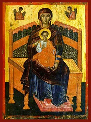 VIRGIN AND CHILD, PLATYTERA ENTHRONED, OUR LADY OF THE ANGELS