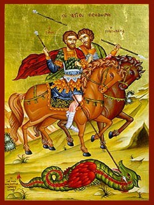 SAINTS THEODORES THE GREAT MARTYRS, TYRO AND STRATELATES, ON HORSEBACK
