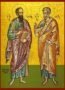 HOLY APOSTLES PETER AND PAUL, FULL BODY - Icon Print on Paper, 4x5cm / 1,6x2in