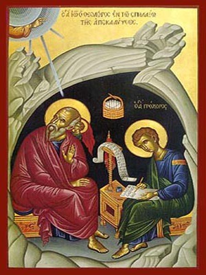 APOSTLE ΑΝD EVANGELIST SAINT JOHN THE THEOLOGIAN WITH SAINT PROCHORUS THE APOSTLE, IN CAVE, FULL BODY