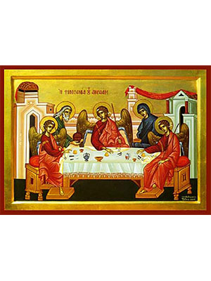 HOSPITALITY OF ABRAHAM - Icon Print on Paper, 9×6cm / 3,6×2,4in