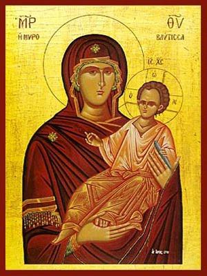 VIRGIN AND CHILD, HODEGETRIA, MYROVLYTISSA (MYRRH GUSHER)
