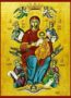 VIRGIN AND CHILD, QUEEN OF THE UNIVERSE, FULL BODY - Icon Print on Paper, 6×9cm / 2,4×3,6in