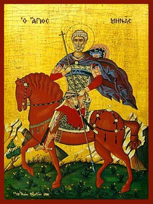 SAINT MENAS, THE GREAT MARTYR, OF EGYPT, ON HORSEBACK