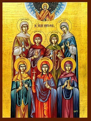 THE MYRRH BEARERS: SAINTS MARY MAGDALEN, MARY WIFE OF CLEOPAS, JOANNA CHOUZA, SALOME MOTHER OF THE SONS OF ZEBEDEE, SUSANNE, AND MARY AND MARTHA THE SISTERS OF LAZARUS