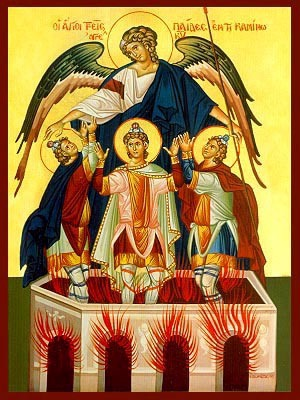 THREE HOLY YOUTHS IN THE FURNACE, ANANIAS, AZARIAS, MISAEL AND THE ANGEL OF THE LORD