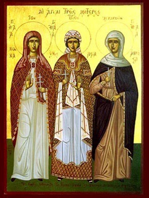 THREE HOLY MOTHERS, NONNA, EMMELIA, ANTHOUSA, FULL BODY