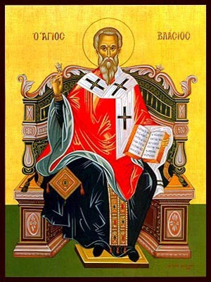 SAINT BLAISE, HIEROMARTYR, BISHOP OF SEBASTE, ENTHRONED