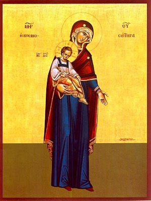 VIRGIN AND CHILD, SAVIOUR OF THE WORLD, FULL BODY