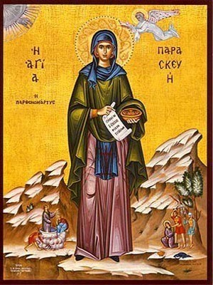 SAINT PARASCEVE, THE GREAT MARTYR, OF ROME, WITH SCENES FROM HER LIFE, FULL BODY