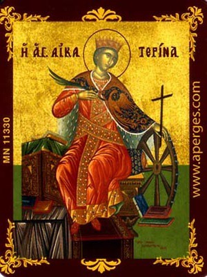 SAINT CATHERINE THE GREAT MARTYR, OF ALEXANDRIA, ENTHRONED - Magnet, 5×6cm / 2×2,4in
