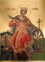 SAINT CATHERINE THE GREAT MARTYR, OF ALEXANDRIA, ENTHRONED - Silkscreen on Cotton Canvas, 6×9cm / 2,4×3,6in