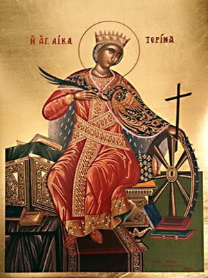 SAINT CATHERINE THE GREAT MARTYR, OF ALEXANDRIA, ENTHRONED - Silkscreen on Cotton Canvas, 4x5cm / 1,6x2in