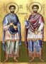 SAINTS COSMAS AND DAMIAN, THE HOLY UNMERCENARIES, FULL BODY - Silkscreen on Cotton Canvas, 20×26cm / 8×10,4in
