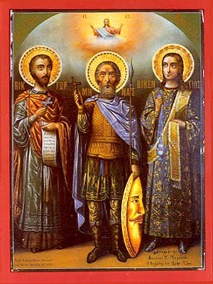 SAINTS VICTOR AT DAMASCUS, MENAS OF EGYPT AND VINCENT OF SPAIN, FULL BODY
