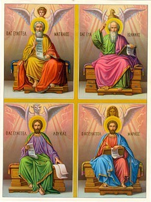 HOLY APOSTLES AND EVANGELISTS, SAINTS MARK, MATTHEW, LUKE AND JOHN THE THEOLOGIAN, ENTHRONED