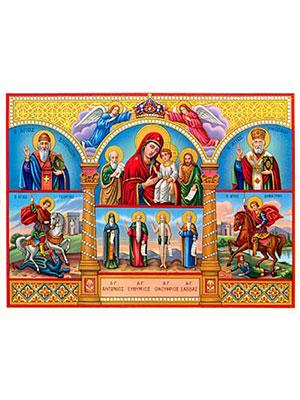 VIRGIN AND CHILD, SAINTS JOHN THE THEOLOGIAN, JOHN THE FORERUNNER, SPYRIDON, GEORGE, ANTHONY, EUTHYMIUS, ONUPHRIUS, SABBAS, DEMETRIUS AND NICHOLAS