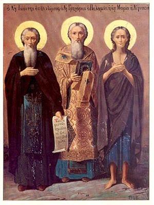 SAINTS JOHN (CLIMACUS), GREGORY PALAMAS, MARY OF EGYPT, FULL BODY