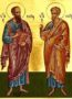 HOLY APOSTLES PETER AND PAUL, FULL BODY - Gilded Print on Paper, 4x5cm / 1,6x2in