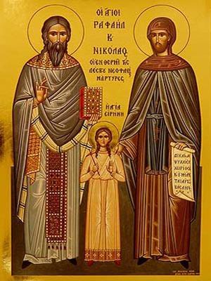 SAINTS RAPHAEL, NICHOLAS AND IRENE, THE NEW MARTYRS OF MITYLENE, GREECE, FULL BODY