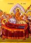 DORMITION OF THEOTOKOS, DETAIL - Gilded Print on Paper, 4x5cm / 1,6x2in