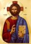 CHRIST BLESSING, PANTOCRATOR - Gilded Print on Paper, 4x5cm / 1,6x2in