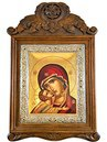 CARVED WOODEN ICON 3-DIMENSIONAL WITH SLIVER FRAME AND SILKSCREEN