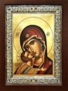 WOODEN ICON 3-DIMENSIONAL WITH SILVER FRAME AND SILKSCREEN