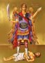 ARCHANGEL MICHAEL, PANORMITES OF SYME, GREECE, FULL BODY - Gilded Print on Paper, 4x5cm / 1,6x2in